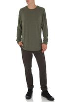 STYLE REPUBLIC - Curved Long-sleeve T-shirt Dark Green Dark Green