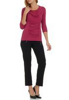 Sensation - Cerise cowl neck blouse Mid Pink