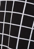 edit - Grid Knit Midi Skirt Black/White  Black and White