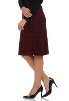 edit - Grid Knit Midi Skirt Dark Red Dark Red