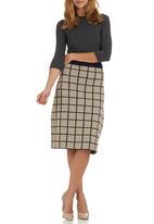 edit - Grid Knit Midi Skirt Stone