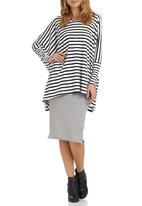 edit - Theory Designs - Oversized Stripe Tunic Black/White  Black and White
