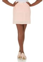 c(inch) - Printed Flare Mini Skirt Pink Pale Pink
