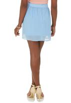 c(inch) - Printed Flare Mini Skirt Blue Pale Blue