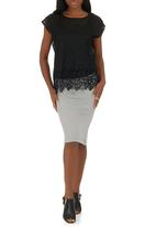 G Couture - Lace-edged Top Black