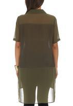 STYLE REPUBLIC - Inset Blouse Dark Green