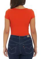 c(inch) - Short Sleeve Bodysuit Orange