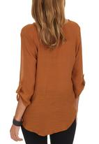 edit - Cross-over Blouse Mid Brown