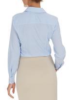 edit - Pinstripe Classic Shirt Blue and White