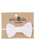 Pickalilly - Anglaise Bow Headband White