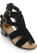 Footwork - Fringe Midi Heels Black