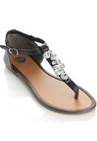 Footwork - Crystal Stone Detail Sandals Black