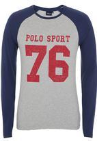 POLO - Number Logo Raglan-Sleeve Sweater Dark Blue