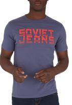 SOVIET - Short Sleeve Printed Tee Mid Blue