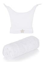 The London Laundry - Beanie & Muslin Blanket Gift Set White
