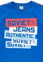 SOVIET - Boys Logo Print Tee Mid Blue