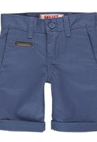 SOVIET - Boys Shorts with PU Trim Mid Blue