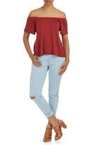 c(inch) - Off the Shoulder Blouse Mid Brown