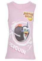Jungle Beat - Penguin Print Vest Mid Pink
