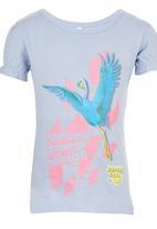 Jungle Beat - Blue Crane Print Top Pale Blue