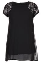 Royal T - Tunic with Lace Inset Shoulder Black