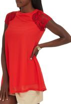 Royal T - Tunic with Lace Inset Shoulder Red