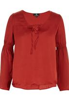 STYLE REPUBLIC - Peasant Tie-up Blouse Mid Brown