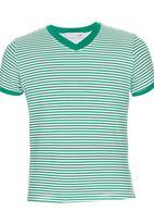 POP CANDY - Stripe V-neck T-shirt Green