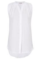 edit - Sleeveless Button Down Blouse White