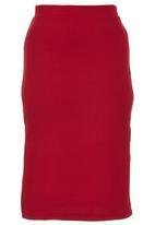 c(inch) - Slit Midi Skirt Dark Red