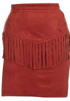 c(inch) - Front Fringe Suedette Mini Skirt Red