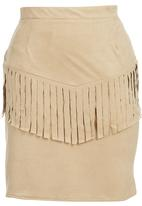 c(inch) - Front Fringe Suedette Mini Skirt Stone/Beige