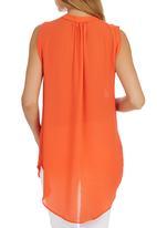 edit - Sleeveless Button Down Blouse Orange