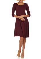 edit - Fit & Flare Knit Dress Dark Red
