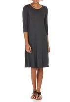 edit - Fit & Flare Knit Dress Dark Grey