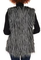 c(inch) - Fancy Faux Fur Gilet Black and White