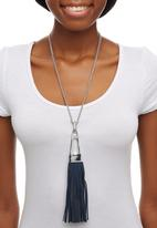 STYLE REPUBLIC - Leather-look Tassel Trim Longline Necklace Silver
