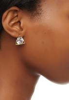edit - Triangle Caged Diamante Stud Earrings Gold