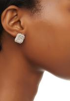 edit - Diamante Square Stud Earrings Silver