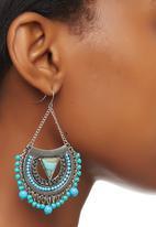 edit - Ethnic Drop Earrings Silver