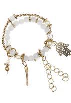 edit - Hamsa Beaded Bracelet Pale Grey