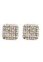 edit - Diamante Square Stud Earrings Silver