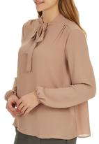 edit - Kitty Bow Blouse Mid Brown