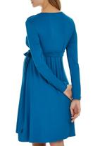 Cherry Melon - Long Sleeve Mock Wrap Dress Blue