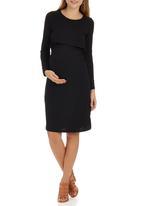 edit Maternity - Double Layer Long Sleeve Bodycon Dress Black