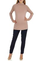 edit Maternity - Side Gauge Turtle Neck Top Tan