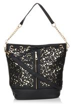 c(inch) - Floral Cut-out Bucket Bag Black