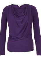 edit - Long Sleeve Cowl Top Dark Purple