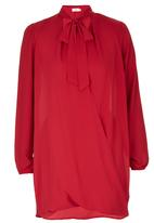 edit - Wrap Kitty Bow Tunic Red