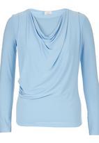edit - Long Sleeve Cowl Top Pale Blue